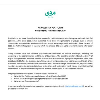 newsletterQ3 Plateforme